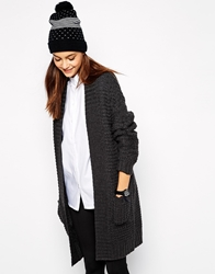 Only Chunky Knit Long Line Cardigan Grey