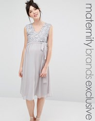 Queen Bee Sleeveless Sequin Lace Bodice Midi Dress With Tulle Skirt Grey