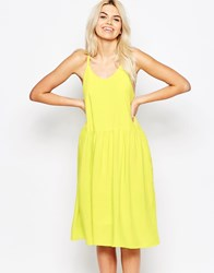 The Whitepepper Cross Back Spaghetti Strap Dress Yello Yellow