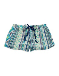 Vintage Havana Tribal Drawstring Shorts Blue Teal