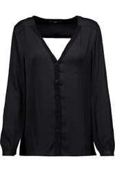 Tart Collections Lorena Cutout Satin And Stretch Jersey Blouse Black