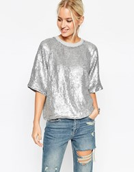 Asos Glitter Sequin Silver Sweat T Shirt Silver Grey