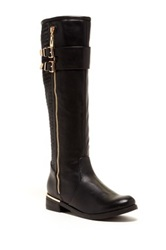 Godiva Amanda Buckled And Quilted Riding Boot Black