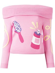 Jeremy Scott Grooming Intarsia Off Shoulder Jumper Pink Purple