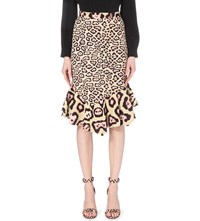Givenchy Leopard Print Fit And Flare Midi Skirt Multicoloured