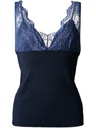 Muveil V Neck Lace Panel Top Blue