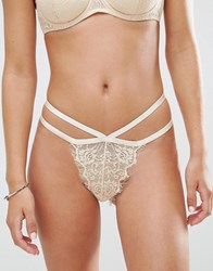 Asos Libby Lace Thong Cream Beige