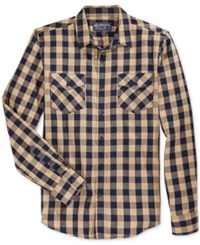 American Rag Men's Check Print Long Sleeve Shirt Only At Macy's Caramel Swirl