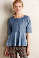 Anthropologie Chambray Swing Top Blue