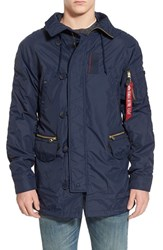 Men's Alpha Industries 'N 3B Ambrose' Water Resistant Military Parka Replica Blue
