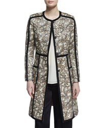 Etro Long Sleeve Floral Print Topper Coat Beige