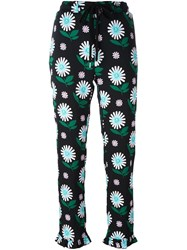 Markus Lupfer Daisy Print Cropped Trousers Black