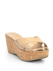 Jimmy Choo Prima Patent Leather Cork Wedge Sandals Black Nude