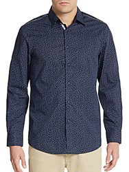 Report Collection Regular Fit Neat Dot Print Cotton Sportshirt Navy