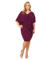 Adrianna Papell Plus Size Layered Chiffon Caplet Band Matte Jersey Dress Wine Women's Dress Burgundy