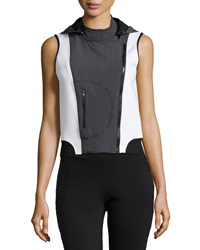 X By Gottex Hooded Scuba Moto Vest Black White