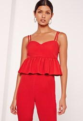 Missguided Peplum Sweetheart Cami Top Red