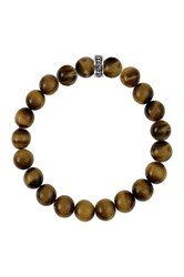 King Baby Studio Sterling Silver Tiger Eye Bead Stretch Bracelet Beige
