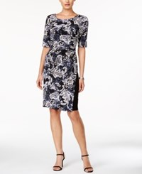 Connected Printed Short Sleeve Dress Charcoal