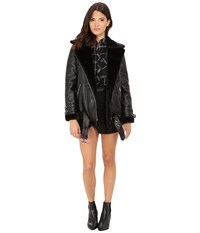 Only Gaia Bonded Biker Coat With Faux Fur Lining Black Women's Coat