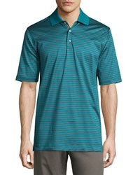 Bobby Jones Short Sleeve Striped Cotton Polo Shirt Teal Blue Red