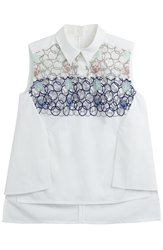 Peter Pilotto Bubble Emroidered Sleeveless Cotton Shirt