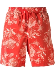 Alexander Mcqueen Floral Print Swim Shorts Yellow And Orange