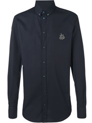 Dolce And Gabbana 'Bee' Embellished Button Down Shirt Black
