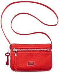Fossil Dawson Leather Mini Crossbody Real Red