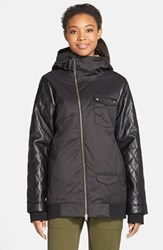 Women's Burton 'Twc Maverick' Waterproof Quilted Jacket True Black Black Leather