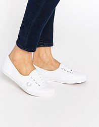 Fred Perry Aubrey White Plimsoll Trainers 200 White Sky Blue