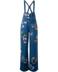 Valentino Butterfly Embroidered Jumpsuit Blue Denim
