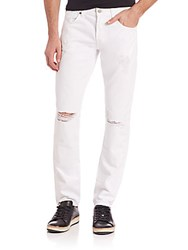 7 For All Mankind Paxtyn Clean Pocket Distressed Skinny Jeans White