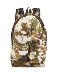 Off White Camouflage Print Cotton Backpack