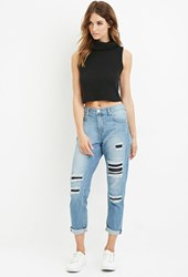 Forever 21 Contemporary Life In Progress Distressed Boyfriend Jeans Denim Dark Denim