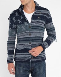 Denim And Supply Ralph Lauren Faded Indigo Stars And Stripes Cotton Cardigan