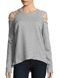Saks Fifth Avenue Red Cotton Blend Long Sleeve Top Grey