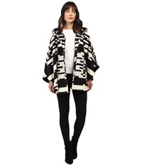 Pendleton Bette Cape Black Ivory Jacquard Women's Coat White