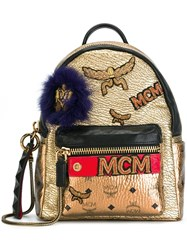 Mcm Metallic Grey Patched Backpack