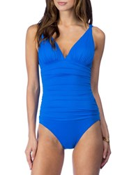 Lauren Ralph Lauren Solid Ruched One Piece Swimsuit Blue
