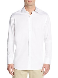 Saks Fifth Avenue Relaxed Fit Solid Cotton Sportshirt White