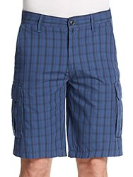 Saks Fifth Avenue Plaid Woven Cotton Shorts Navy