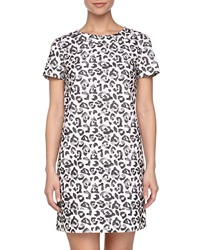 Paperwhite Animal Print Cotton Dress Black White