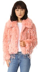 Ashish Faux Fur Dangle Jacket Peach