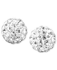 Macy's 10K Gold Crystal Accent Ball Stud Earrings