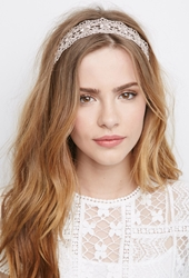 Forever 21 Scalloped Crochet Headwrap Mauve