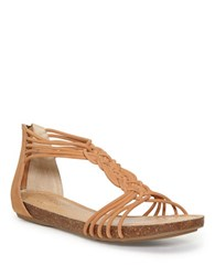 Me Too Nyla Zippered Leather Sandals Brown