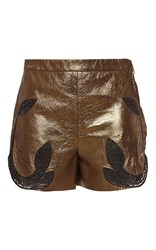Blumarine Embroidered High Waisted Metallic Shorts Gold