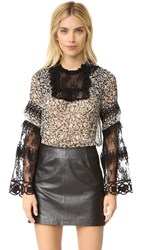 Anna Sui Peacocks Print Chiffon And Lace Top Black Multi