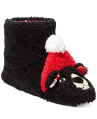 Pj Couture Women's Holiday Bear Slipper Boots Black